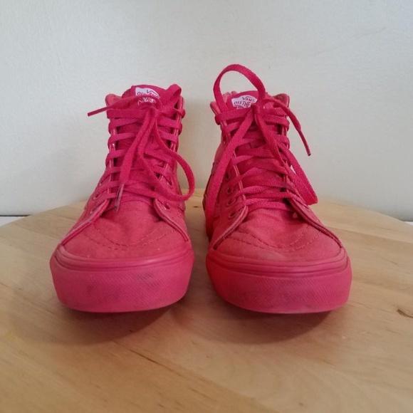 7a08303b Vans Hot Pink Skateboard Hi-Top Kids Girls Shoes